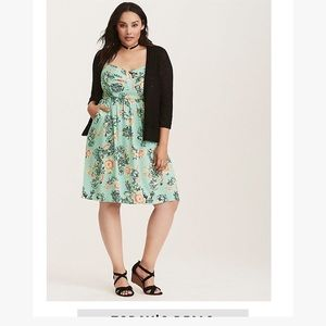 Torrid mint floral print challis bow front dress